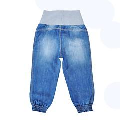 billige Bukser og leggings til piger-Unisex Bukser Daglig Ferie Ensfarvet, Polyester Forår Efterår Langærmet Simple Blå