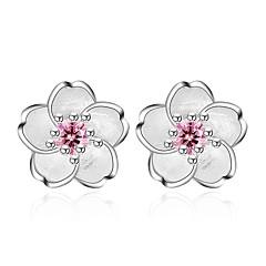 cheap Earrings-Women's Stud Earrings Fashion Sweet Zircon Alloy Flower Jewelry Pink Daily Date Costume Jewelry