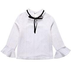 billige Pigetoppe-Børn Pige Simple Ensfarvet / Trykt mønster Blonder Langærmet Bomuld Skjorte / Sødt