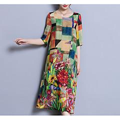 Damen Chinoiserie Lose Kleid Einfarbig Midi U-Ausschnitt