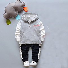 billige Tøjsæt til drenge-Baby Drenge Basale I-byen-tøj Ensfarvet / Trykt mønster / Jacquard Vævning Trykt mønster Langærmet Bomuld Tøjsæt / Sødt