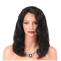 cheap Wigs & Hair Pieces-Virgin Human Hair Lace Front Wig Brazilian Hair Wavy Natural Black Wig 130% Density with Baby Hair Natural Hairline Natural Black Women's Medium Length Human Hair Lace Wig PERFE