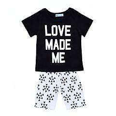 billige Tøjsæt til piger-Baby Unisex Aktiv Ferie Geometrisk Trykt mønster Kortærmet Bomuld Tøjsæt