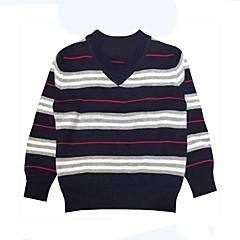 billige Sweaters og cardigans til drenge-Baby Drenge Simple Daglig / Ferie Stribet Stribe Langærmet Normal Bomuld Trøje og cardigan Sort 130