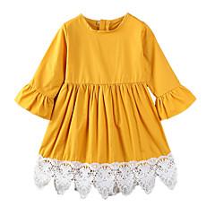 baratos Roupas de Meninas-Menina de Vestido Diário Para Noite Sólido Retalhos Primavera Verão Algodão Poliéster Simples Casual Amarelo