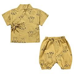 billige Undertøj og sokker til piger-2 Baby Unisex Daglig Geometrisk Klassisk Kortærmet Normal Normal Bomuld / Hør Nattøj Hvid 100 / Sødt