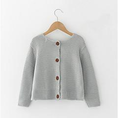 billige Sweaters og cardigans til piger-Børn Pige Vintage Ensfarvet Langærmet Trøje og cardigan