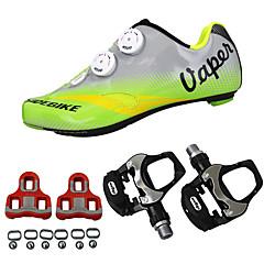 billige Sykkelsko-SIDEBIKE Voksne Sykkelsko med pedal og tåjern / Veisykkelsko Karbonfiber Demping Sykling Grønn Herre