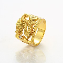cheap Rings-Men's Statement Ring - Gold Plated Dragon Rock Jewelry Gold For Street Club 9 / 10 / 11 / 12