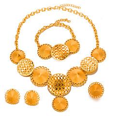 tanie Zestawy biżuterii-Damskie Pozłacane Biżuteria Ustaw Zawierać 1 Naszyjnik 1 Bransoletka 1 Ring Náušnice - Duże Modny Circle Shape Zestawy biżuterii Na Ślub