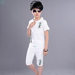 tanie Odzież dla chłopców-Komplet odzieży Rayon Dla chłopców Codzienny Nadruk Lato Krótki rękaw Na co dzień Niebieski Beige Navy Blue