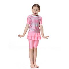 baratos Roupas de Meninas-Para Meninas Boho Estampa Colorida Roupa de Banho, Poliéster Fibra Sintética Elastano Manga Curta Rosa Azul Claro