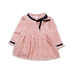 baratos Roupas de Meninas-Bébé Para Meninas Simples / Vintage Sólido / Estampa Colorida Manga Longa Vestido