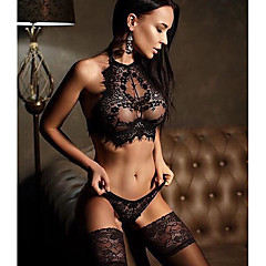cheap Women's Lingerie-Women's Sexy Suits Nightwear - Lace / Backless Solid Colored
