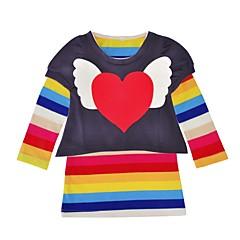 billige Tøjsæt til piger-Baby Pige Aktiv Daglig / Ferie Patchwork Hjerte Stil Langærmet Lang Kort Bomuld Tøjsæt Navyblå