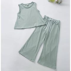 billige Pigetoppe-Børn Pige Simple / Aktiv Ensfarvet Uden ærmer Lang Bomuld T-shirt