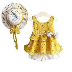 billige Tøjsæt til piger-Pige Tøjsæt Daglig Ferie Ensfarvet Blomstret, Bomuld Polyester Sommer Uden ærmer Sødt Aktiv Lyserød Gul