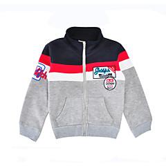 billige Hættetrøjer og sweatshirts til piger-Unisex Hættetrøje og sweatshirt Daglig Sport Farveblok, Bomuld Forår Efterår Langærmet Afslappet Grå