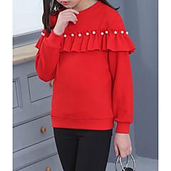 billige Hættetrøjer og sweatshirts til piger-Børn Pige Ensfarvet Langærmet Normal Bomuld Hættetrøje og sweatshirt Sort / Sødt