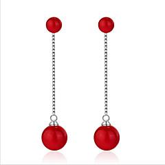 cheap Earrings-Women's Pearl / S925 Sterling Silver Hoop Earrings - Fashion / Korean / European Red Circle Earrings For Wedding / Daily