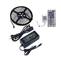 billiga Dekorativ belysning-1x5M RGB-ljusslingor 300 lysdioder SMD5050 1 44Kör fjärrkontrollen / 1 x 5A nätadapter RGB Vattentät / Klippbar / Dekorativ 12 V 1set