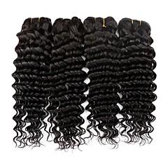 preiswerte Haarverlängerungen in natürlichen Farben-Brasilianisches Haar Wellen Echthaar Haarverlängerungen 4 Bündel 8-28Zoll Menschliches Haar Webarten extention / Schlussverkauf Natürlich