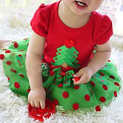 baratos Roupas de Meninas-Menina de Vestido Natal Diário Poá Verão Algodão Manga Curta Fofo Casual Vermelho
