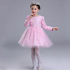 billige Pigekjoler-Baby Pige Blonde / Rosette / Pænt tøj Kortærmet Kjole
