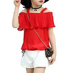 billige Tøjsæt til piger-Pige Daglig Ferie Ensfarvet Tøjsæt, Bomuld Polyester Sommer Kortærmet Sødt Aktiv Rød Lyserød