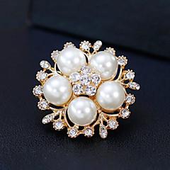 billige Motebrosjer-Dame Nåler Rhinstein Perle Legering Blomst Gull Sølv Blomster Mote Europeisk Smykker Bryllup Daglig Kostyme smykker