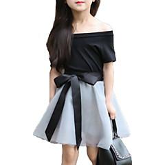 billige Tøjsæt til piger-Pige Tøjsæt Daglig I-byen-tøj Ensfarvet Blomstret, Bomuld Sommer Kortærmet Sødt Aktiv Sort