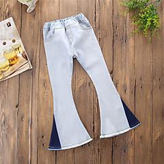billige Bukser og leggings til piger-Baby Pige Gade Daglig / I-byen-tøj Farveblok Patchwork Polyester Jeans Blå / Sødt