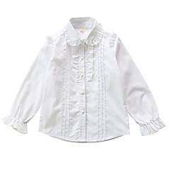 billige Pigetoppe-Børn Pige Ensfarvet Langærmet Skjorte
