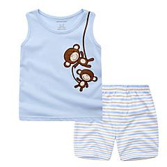 billige Tøjsæt til drenge-Spædbarn Drenge Aktiv Daglig / Ferie Stribet / Trykt mønster Trykt mønster Uden ærmer Normal Normal Bomuld Tøjsæt Lyseblå