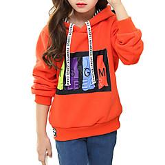 billige Hættetrøjer og sweatshirts til piger-Børn Pige Tegneserie I-byen-tøj Trykt mønster Langærmet Bomuld Hættetrøje og sweatshirt