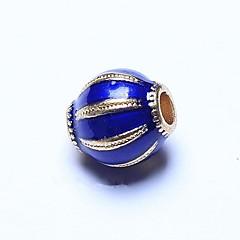 billige Perler og smykkemaking-DIY Smykker 1pcs Perler , Emalje Legering Blå Oval Perlene 0.8cm DIY Halskjeder Armbånd