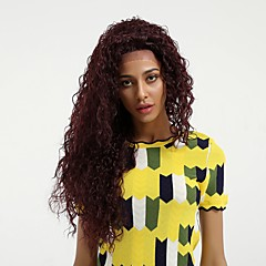 cheap Wigs & Hair Pieces-Synthetic Lace Front Wig Women's Curly Burgundy Side Part 130% Density Synthetic Hair Natural Hairline Burgundy Wig Mid Length / Very Long Lace Front Dark Wine MAYSU / Yes