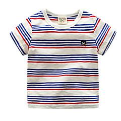 billige Pigetoppe-Baby Unisex Aktiv Ferie Stribet Trykt mønster Kortærmet Bomuld T-shirt