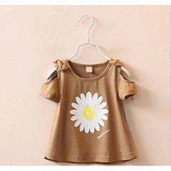 billige Pigetoppe-Baby Pige Skole Blomstret Kortærmet T-shirt