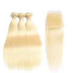 お買い得  グラデーションカラー・ヘアエクステンション-ペルービアンヘア ストレート レミーヘア オンブル' / ワンパックソリューション / 人毛エクステンション 4バンドル 人間の髪織り ベビーヘアで / シルキー / ナチュラルヘアライン ブリーチブロンド 人間の髪の拡張機能 女性用