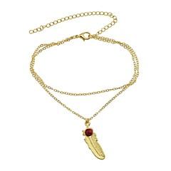 tanie Piercing-Leaf Shape Imitacja turmalinu Łańcuszek na kostkę - Damskie Gold Silver Łańcuszek na kostkę Na Codzienny Urlop