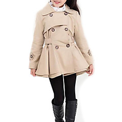 cheap Girls' Jackets & Coats-Kids Girls' Street chic Daily Solid Colored Long Sleeve Long Polyester Trench Coat Pink