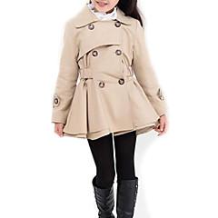 billige Jakker og frakker til piger-Børn Pige Ensfarvet Langærmet Lang Trenchcoat