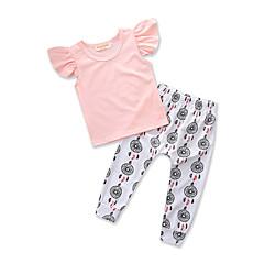 billige Tøjsæt til piger-Baby Pige Aktiv I-byen-tøj Ensfarvet / Prikker / Trykt mønster Trykt mønster Kortærmet Bomuld Tøjsæt / Sødt