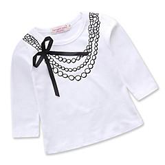 billige Pigetoppe-Baby Pige Aktiv Daglig / Ferie Geometrisk Sløjfer / Trykt mønster Langærmet Normal Bomuld / Polyester T-shirt Hvid / Sødt