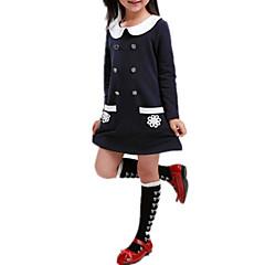 baratos Roupas de Meninas-Menina de Vestido Diário Feriado Sólido Simples Borboleta Todas as Estações Algodão Acrílico Manga Longa Vintage Fofo Princesa Vermelho