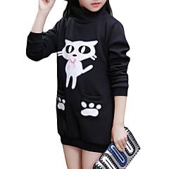 billige Hættetrøjer og sweatshirts til piger-Børn Pige Tegneserie Ensfarvet Langærmet Bomuld Hættetrøje og sweatshirt