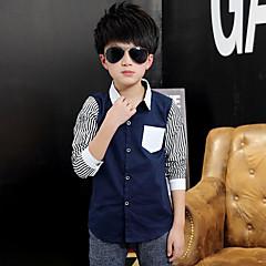 billige Overdele til drenge-Børn Drenge Stribet Langærmet Bomuld Skjorte