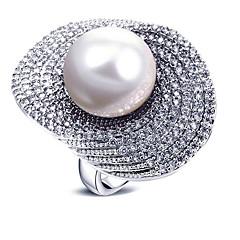 billige Motering-Dame Perle Statement Ring - Perle, Zirkonium Europeisk, Mote, Oversized 6 / 7 / 8 Hvit / Grå Til Fest / Gave