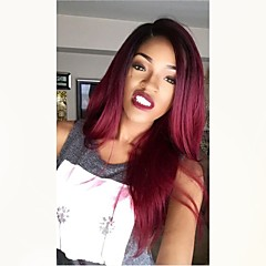 cheap Wigs & Hair Pieces-Unprocessed Human Hair Full Lace Wig Brazilian Hair Straight Burgundy Wig Middle Part 130% Density with Baby Hair Ombre Hair Dark Roots Burgundy Women's Medium Length Human Hair Lace Wig Aili Young